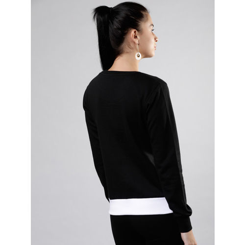 Tokyo Talkies Women Black & White Colourblocked Pullover Sweatshirt