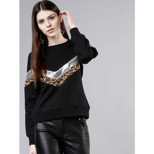Tokyo Talkies Women Black & Silver-Toned Printed Camouflage & Sequinned Sweatshirt