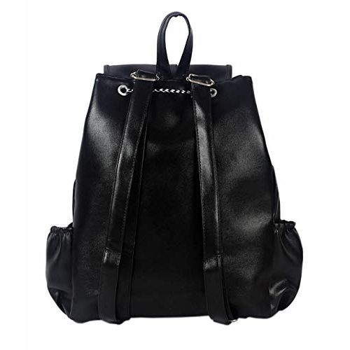 Womens Studded Casual Black Leather Backpack Fashion School Bags for