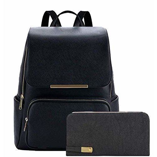 Bizanne Fashion Women's Canvas Vogue College Bags Backpacks and Clutch Combo (Black and Cream)