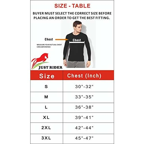 JUST RIDER Compression T-Shirt, Top Full Sleeve Plain Athletic Fit Multi Sports Cycling, Cricket, Football, Badminton, Gym, Fitness & Other Outdoor Inner Wear