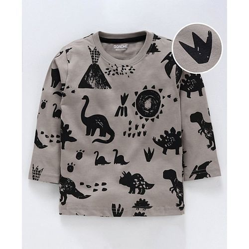 Doreme Full Sleeves Tee Dino Print - Grey