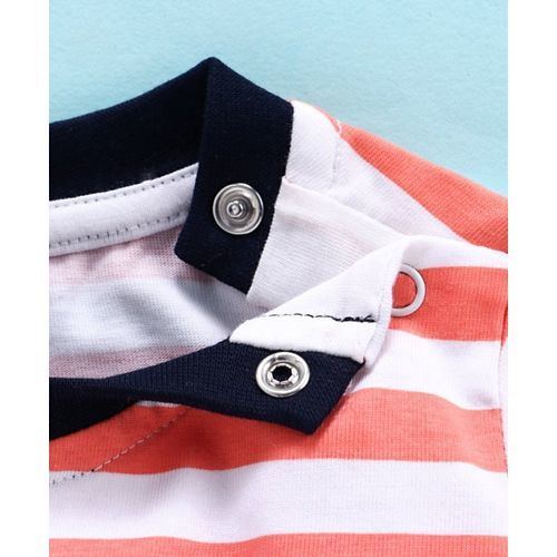 Babyhug Full Sleeves Stripe Tee Monkey Print - Peach White