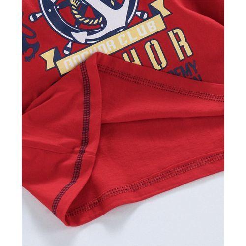 Taeko Short Sleeves Tee Anchor Print - Red