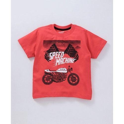 Doreme Half Sleeves Tee Speed Machine Print - Red