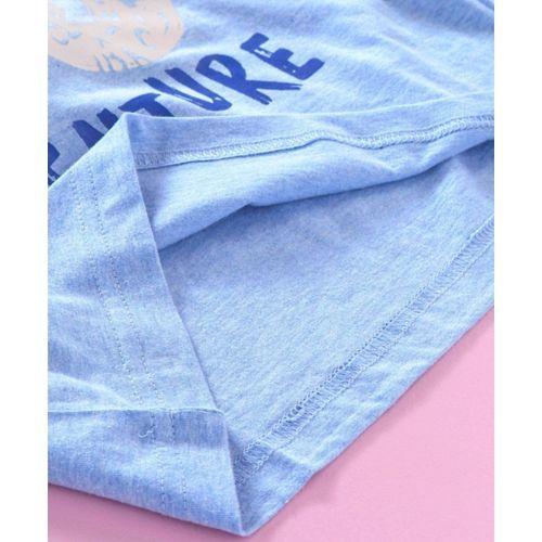 Taeko Half Sleeves Tee Text Print - Blue