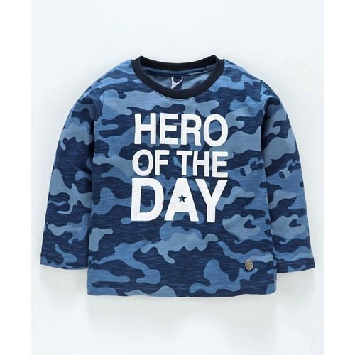 Teddy Full Sleeves Tee Camouflage Print - Blue