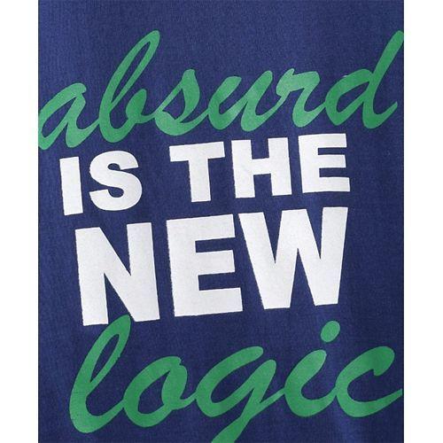 Kids On Board Absurd Is The New Logic Print Full Sleeves Tee - Blue