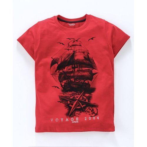 Doreme Half Sleeves T-Shirt Voyage Print - Red