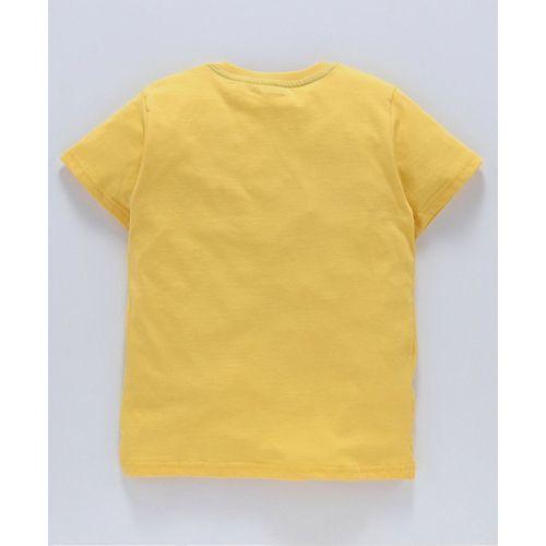Doreme Half Sleeves T-Shirt Los Angeles Print - Yellow