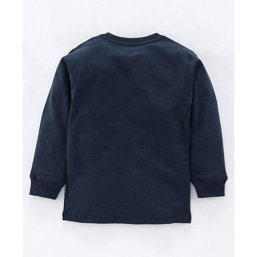 Doreme Full Sleeves Tee Text Print - Navy Blue