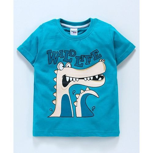 Taeko Half Sleeves Tee Crocodile Print - Blue