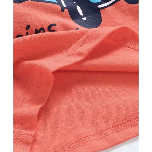 Taeko Half Sleeves Tee Adventure Truck Print - Orange