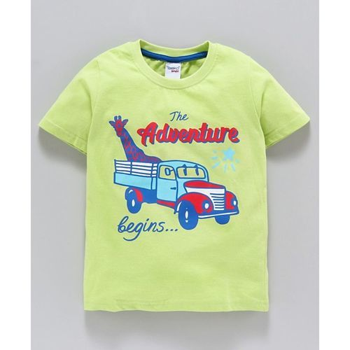 Taeko Half Sleeves Tee Adventure Truck Print - Green