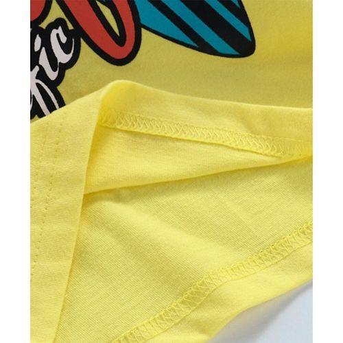 Taeko Sleeveless Hooded Tee Surfing Print - Yellow