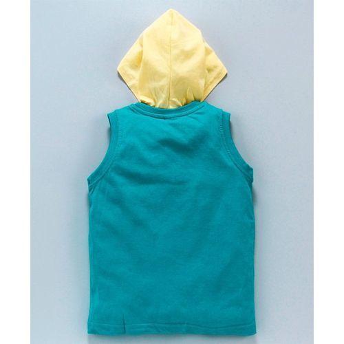 Taeko Sleeveless Hooded Tee Text Print - Blue