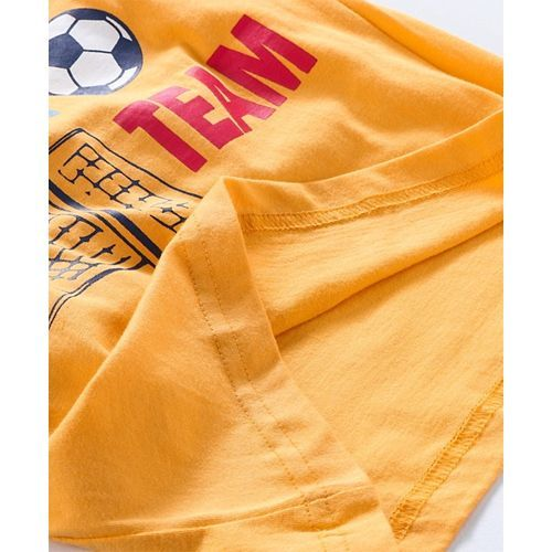 Taeko Sleeveless Hooded Tee Football Print - Yellow