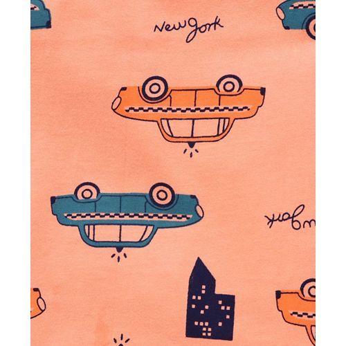 Taeko Sleeveless Tee Car Print - Orange