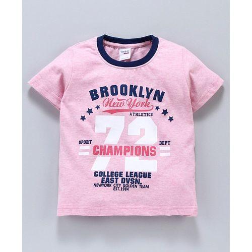 Taeko Half Sleeves Tee Brooklyn Print - Pink