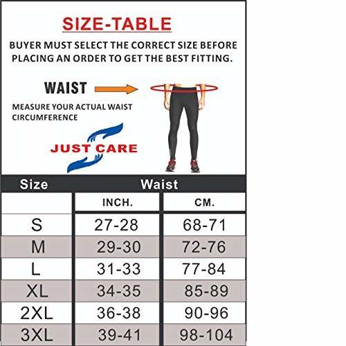 Just Care Men's Running Full Length Tights Compression Lower Sport Leggings Gym Fitness Sportswear Training Yoga Pants for Men & Women