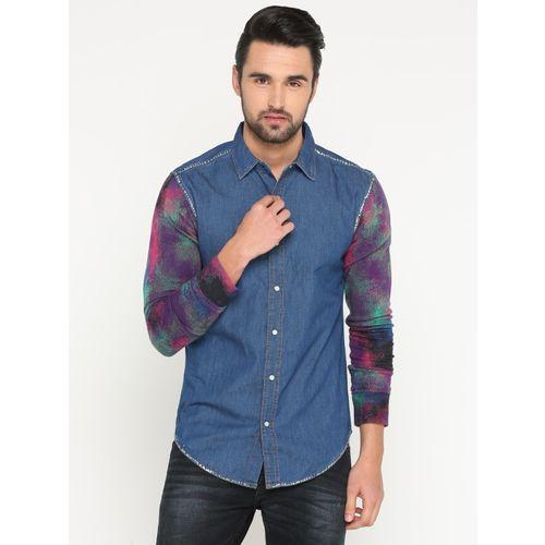 Showoff Men Solid Casual Blue Shirt
