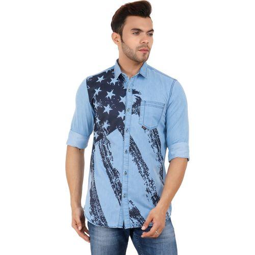 GoButtonskart Men Printed Casual Light Blue Shirt