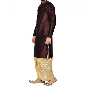Royal Kurta Royal Men's Festive Art Silk Blend Dhoti Kurta Set_Brown