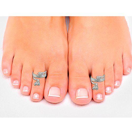 Pcm Lovely Toe Ring Plain Adjustable .925 Silver Toe Ring For Women