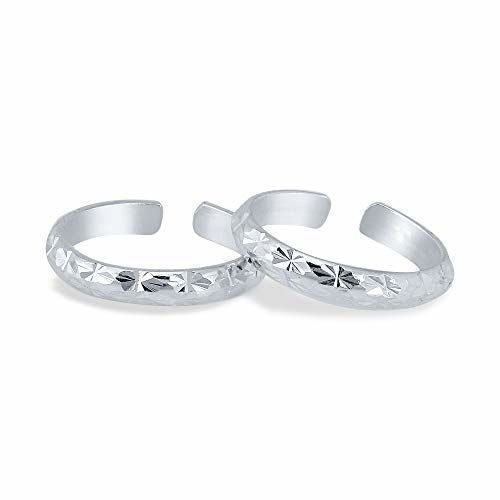 Yellow Chimes 2 PCS Adjustable Latest Design 925 Sterling Silver Hallmark and Certified Purity Silver Toe Rings for Women and Girls