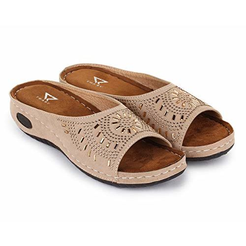 TRASE Erica Beige Brown Soft Comfortable Fancy Slippers