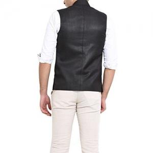 Shaftesbury London Men's Solid Cotton Bandhgala Ethnic Nehru Jacket Waistcoat (BlACK,Parent)