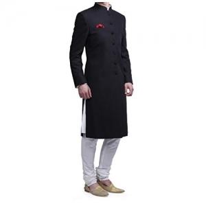 Royal Kurta Men's Viscose Blend Kneelong Solid Nehru Sherwani