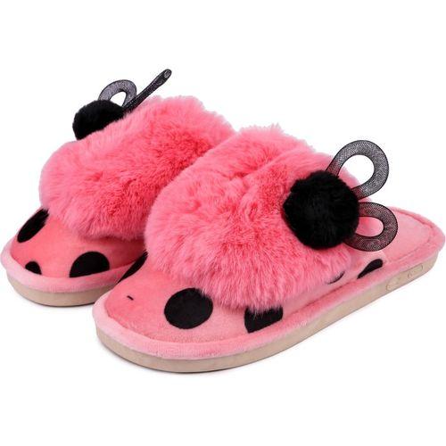 Brauch Pink Polka Fur Ears Winter Slides