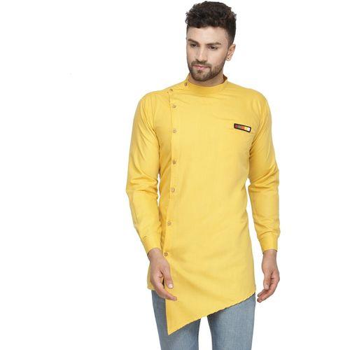 BENSTOKE Men's Solid Asymmetric Kurta(Yellow)