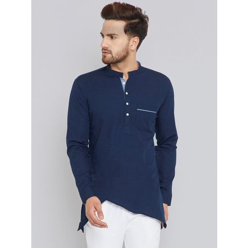 VERO LIE Men Solid Asymmetric Kurta(Dark Blue)