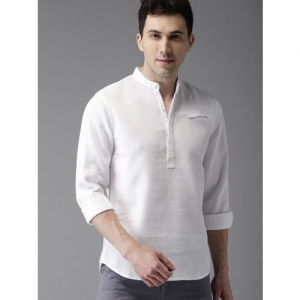 Elepants Men's Self Design Straight Kurta(White)