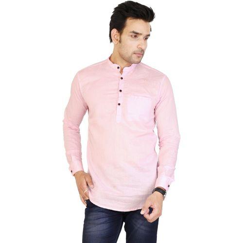 U TURN Men Solid Straight Kurta(Pink)