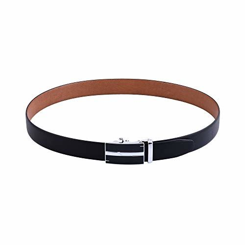 Gainx Men's Reversible High Quality Geniune Italian Leather Belt with Automatic Smart Buckle, Black and Brown