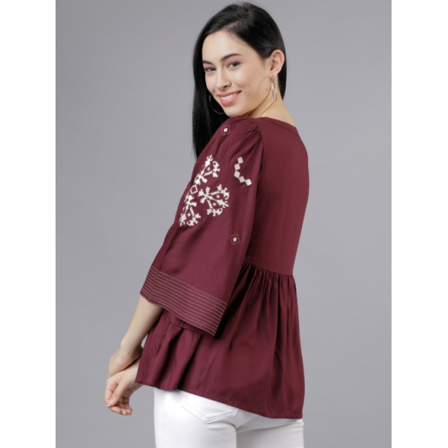 Tokyo Talkies Burgundy Viscose Rayon Embroidered A-Line Top
