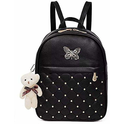 ShopyVid Fashion Black PU Leather Stylish Backpack