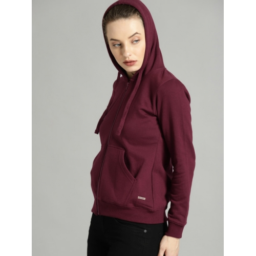Roadster Women Burgundy Solid Hooded Sweatshirt