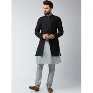 SOJANYA Men Grey & Black Self Design Kurta with Churidar