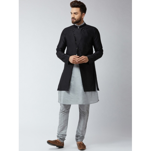 SOJANYA Men Grey & Black Self Design Kurta with Churidar