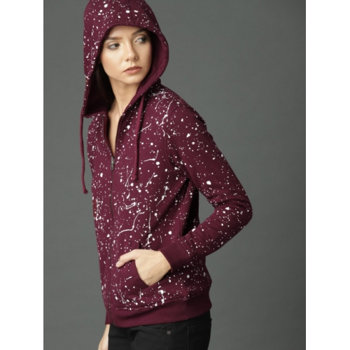 Roadster Women Burgundy Printed Hooded Reversible Sweatshirt