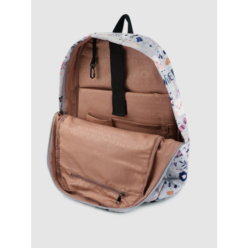 Caprese Women Grey Graphic Backpack