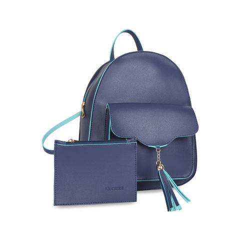 Lychee bags Women Blue Solid Backpack