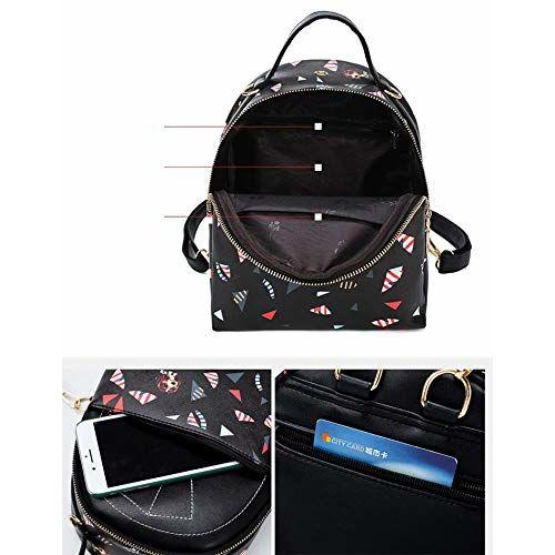 MOCA Women's Mini Small Casual PU Leather Backpack Travel Daypack (Black)