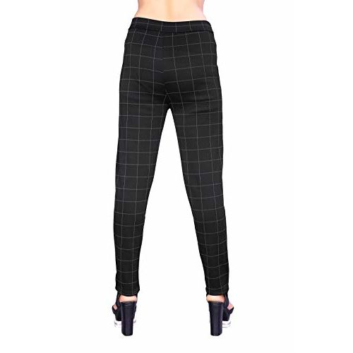 Heel & Toe Women's Jegging Style Stretchable Check Pants (Black, 26-32 Inch Waist)