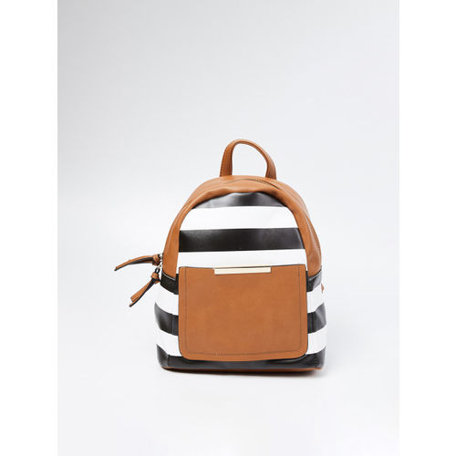 Ginger by Lifestyle Women Black & Off-White Striped Backpack