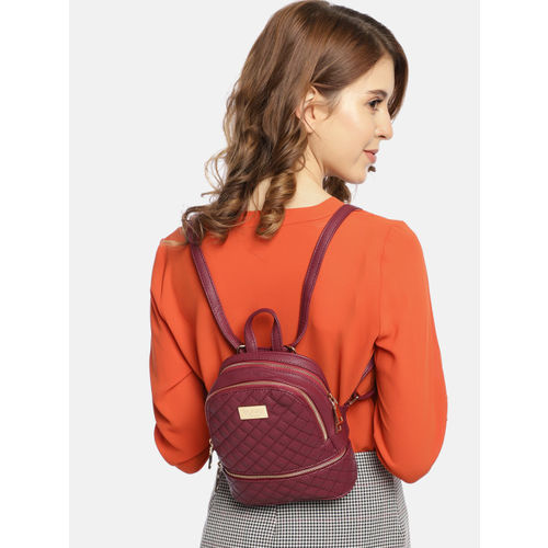 ToniQ Women Maroon Quilted Backpack